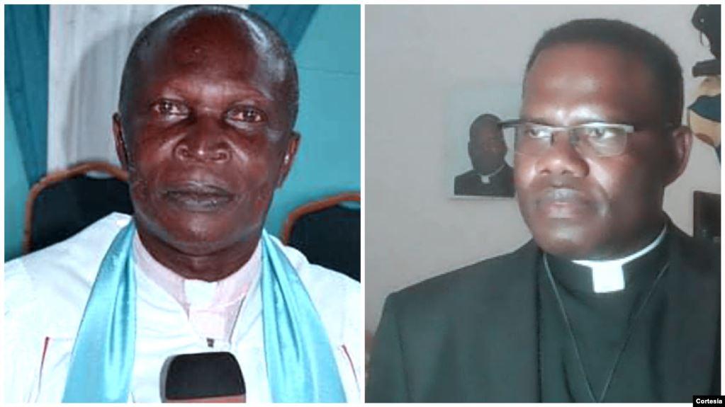 À esquerda, Reverendo Aleluya e Padre Daniel Malamba. foto Voa